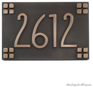 american craftsman address plaque 12 x 8 in bronze. Black Bedroom Furniture Sets. Home Design Ideas