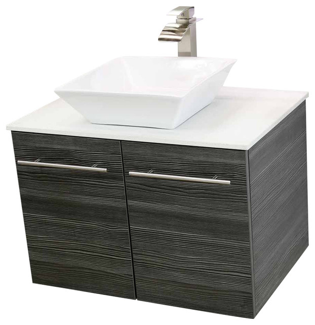 windbay 24 floating vanity sink set dark gray white quartz thin counter top modern. Black Bedroom Furniture Sets. Home Design Ideas