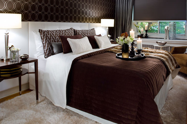 Jane lockhart chocolate brown white bedroom modern for Chocolate brown bedroom designs