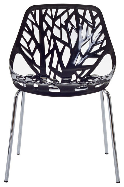 Forest black plastic modern dining chair contemporary for Black plastic dining chairs
