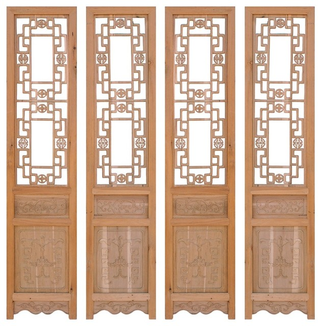 Chinese Open Dragon Pattern Wood Screen Panel 4 Pieces Set