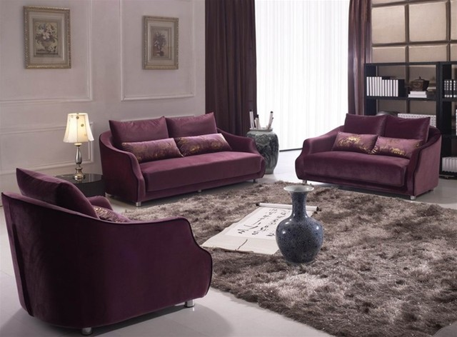 Norma 3 pieced microfiber sofa set modern living room - Microfiber living room furniture sets ...