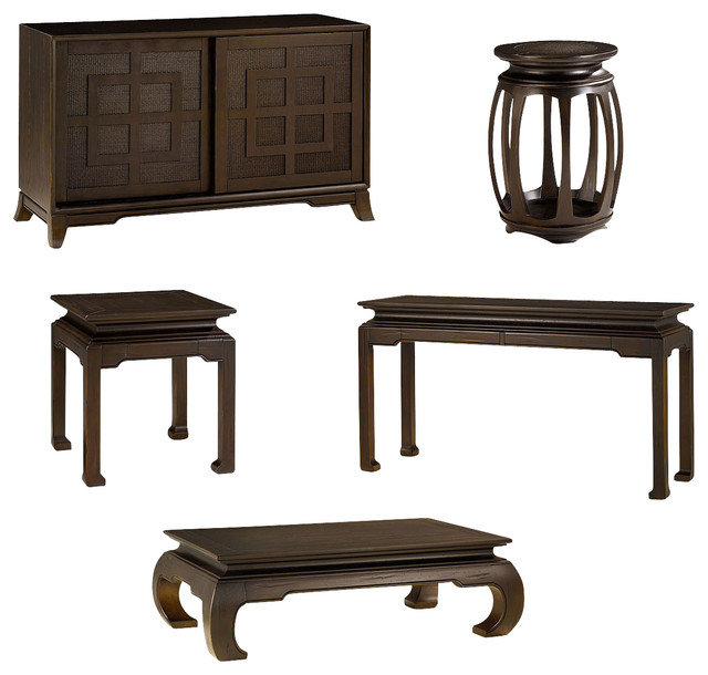 Hammary Chow Rectangular 5 Piece Occasional Table Set Traditional Coffee Table Sets By