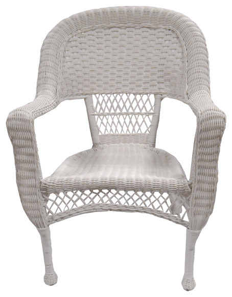 Resin Wicker Patio Dining Armchairs Set of 2 White Beach Style Outdoor