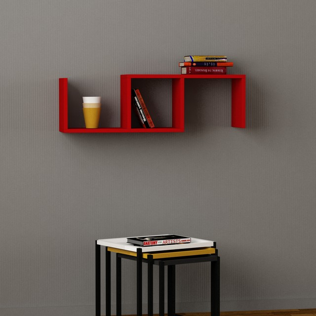 Marti wall shelf red contemporary display wall for Contemporary display shelves
