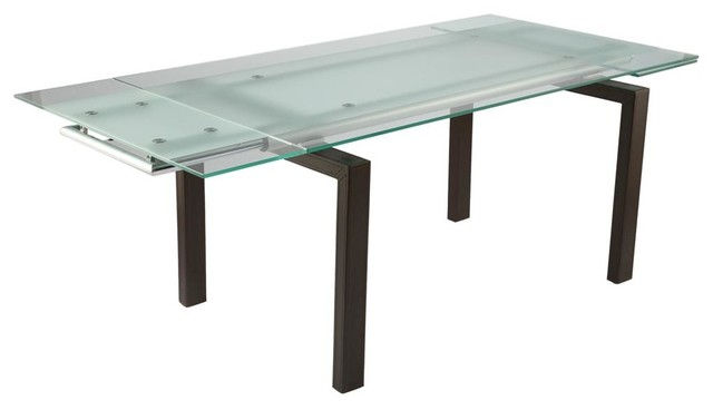 Shelly extension dining table w frosted glass for Frosted glass dining table