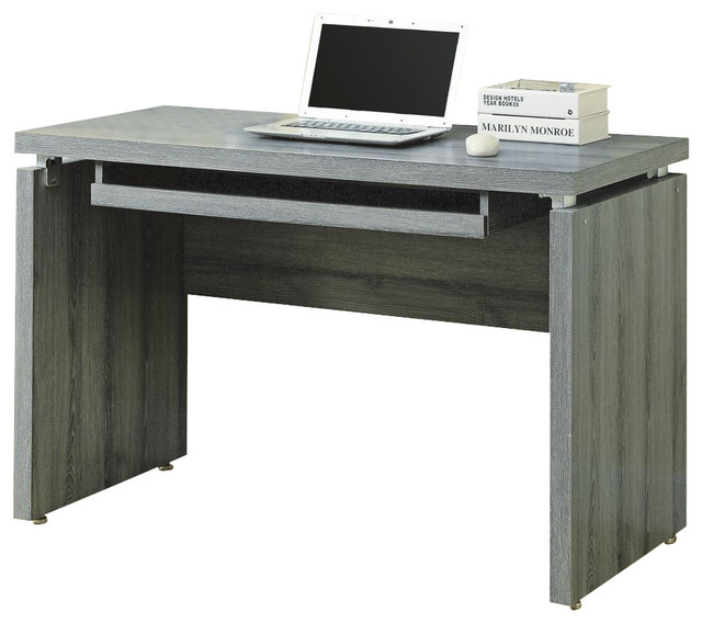 Rectangular Reclaimed-Look Computer Desk in Dark Taupe - Industrial - Desks And Hutches - by ...