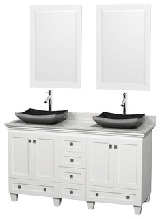 60 Acclaim White Double Vanity White Carrera Top Altair Black Gra