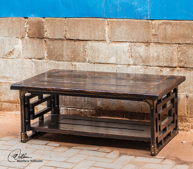 Uttermost deron wooden coffee table contemporary side for Contemporary wood coffee tables and end tables