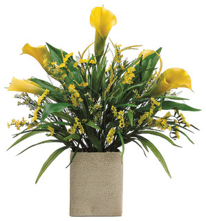 Silk Plants Direct Calla Statics Lily And Grass Pack Of 1