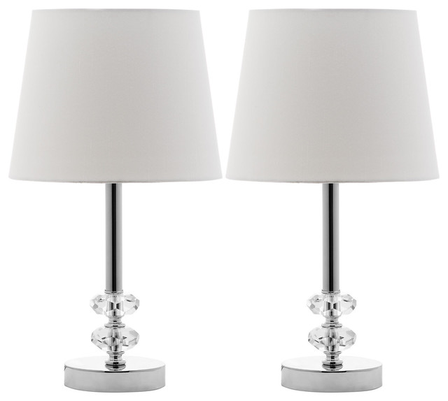 Accent Lighting Of Contemporary Table Lamps For Living: Susanna Crystal Accent Lamp Set, White