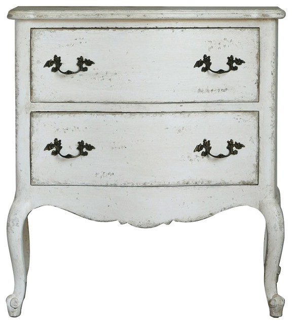 Clementine french country antique white 2 drawer for French nightstand bedside table