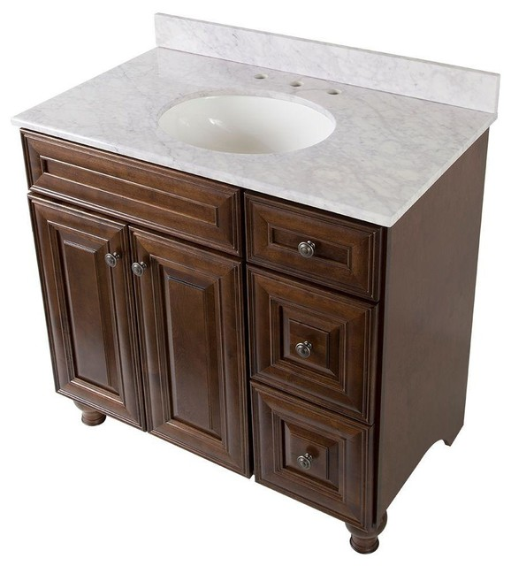 Home Decorators Collection Bathroom Templin 37 In Vanity In Coffee With Stone Contemporary