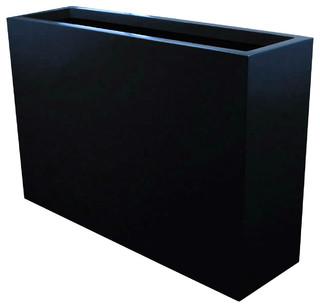Amesbury Tall Narrow Fiberglass Planter Box Matte Black