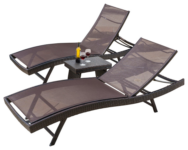 Eliana outdoor 3 piece brown textilene chaise lounge for Brown chaise lounge outdoor