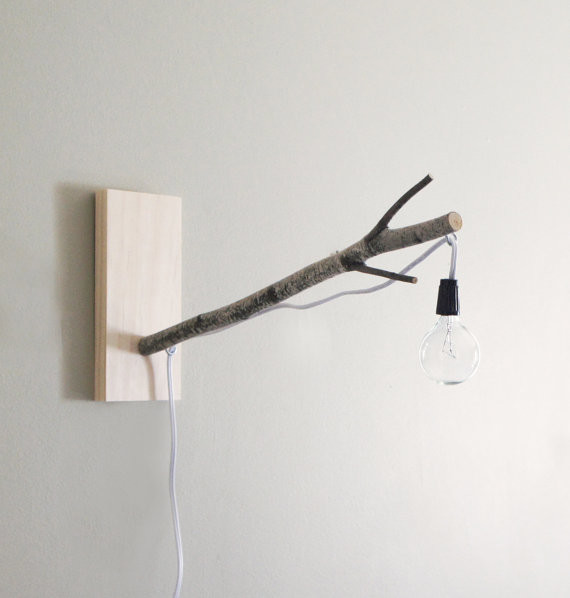 Wall Hanging Desk Lamp : White Birch Branch Pendant Wall/Desk Lamp by Urban + Forest - Eclectic - Wall Sconces - by Etsy