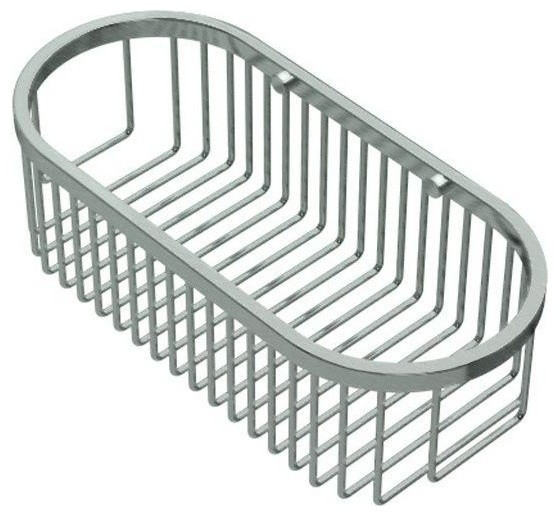 Wall Mount Brass Oval Basket Satin Nickel Contemporary