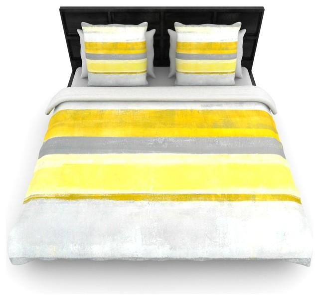 Carollynn Tice Quot Lemon Quot Yellow Gray Fleece Duvet Cover