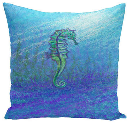 Water Turquoise and Green 18-Inch Cotton Decorative Pillow - Traditional - Bed Pillows