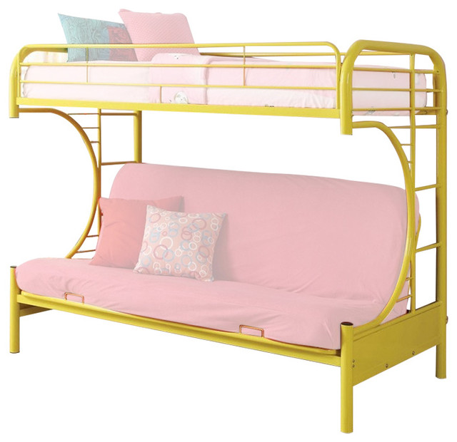 Contemporary Black Finish Metal Tubing Twin Over Twin Size Bunk