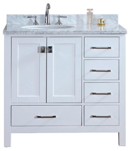 Bella Solid Wood Bathroom Vanity Pure White 36 Transitional Bathroom Vanity Units Sink