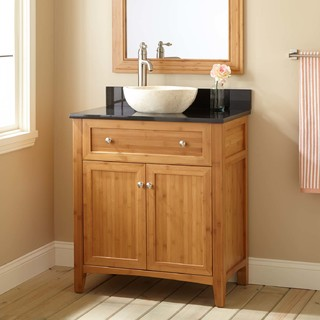 "30"" Narrow Depth Halbur Bamboo Vessel Sink Vanity - Transitional ..."
