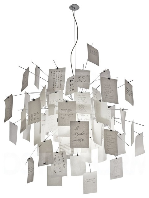 Lampe zettel contemporain suspension luminaire other for Suspension luminaire papier
