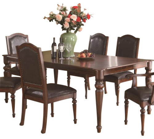 Dining Table Rich Brown By Coaster Traditional