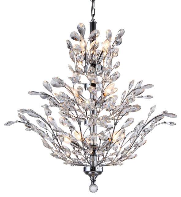 18 Light Crystal Chandelier Chrome With European Crystals