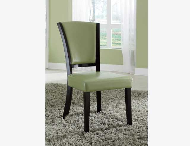 2 PC Casual Espresso Wood Dining Chairs Green Leather Seat  : contemporary from houzz.com size 640 x 492 jpeg 60kB