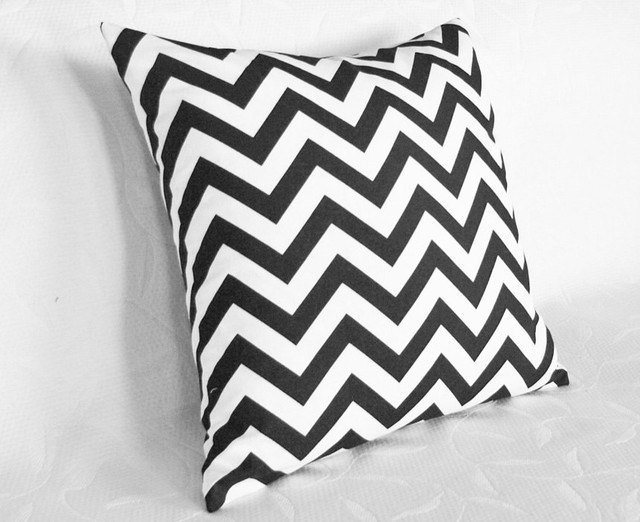 Modern White Pillows : Black and White Chevron Pillow - Contemporary - Decorative Pillows