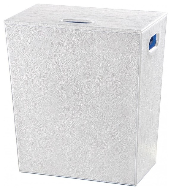 Ws bath collections perle 2563sv white laundry basket - High end laundry hamper ...