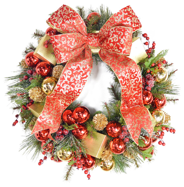 Holiday evergreen wreath contemporary wreaths and for 48 lighted crystal 3 d outdoor christmas wreath decoration