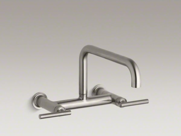 kohler puristr two hole wall mount bridge kitchen sink faucet with