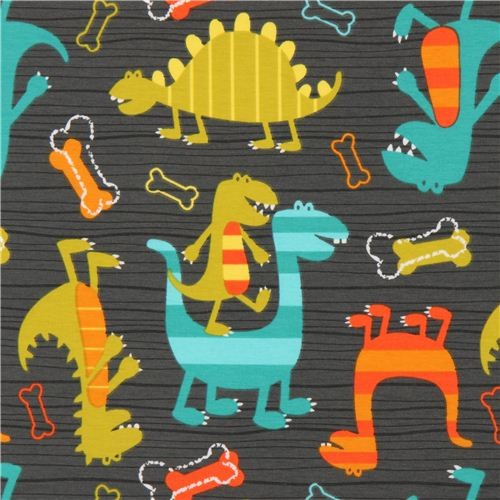 gray michael miller knit fabric dino dudes cute dinosaur