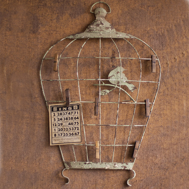 birdcage wall hanging with photo clips eclectic home decor atlanta by iron accents. Black Bedroom Furniture Sets. Home Design Ideas