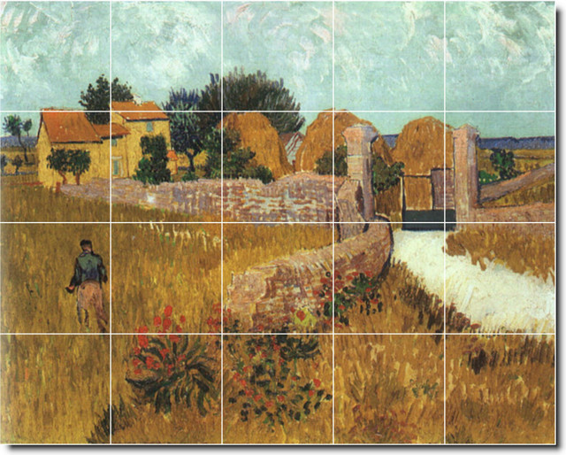 Vincent van gogh country painting ceramic tile mural 358 for Ceramic mural painting