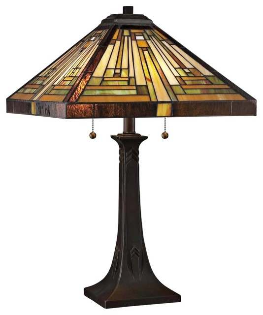 quoizel shiloh mission tiffany style table lamp. Black Bedroom Furniture Sets. Home Design Ideas