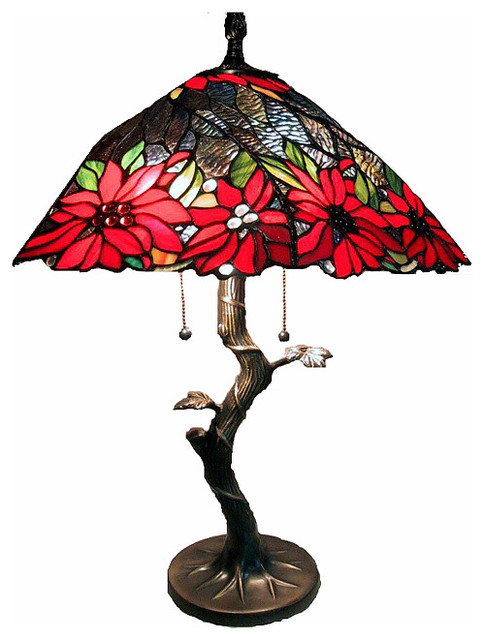 tiffany style tree base lamp with red shade contemporary lamp shades. Black Bedroom Furniture Sets. Home Design Ideas
