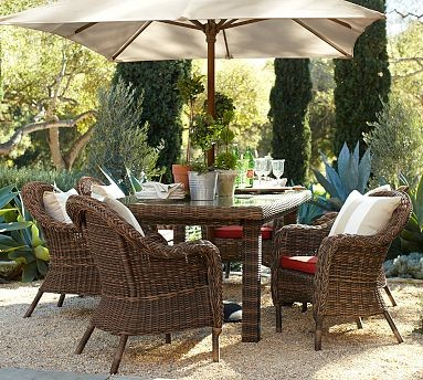 Torrey All Weather Wicker Rectangular Dining Table Armchair Set Espresso Traditional