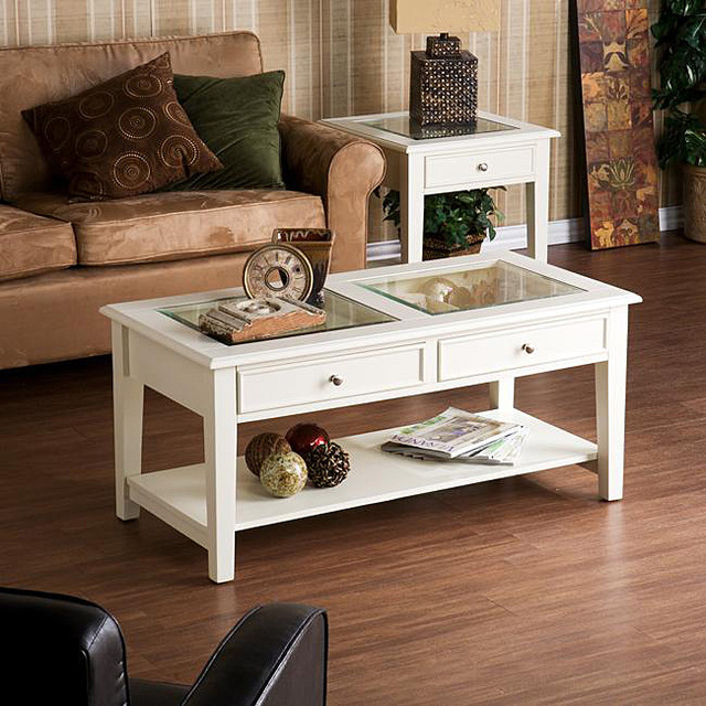 Upton Home Quincy White Cocktail Display Table Contemporary Coffee Tables By