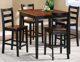 Homelegance Lynn 5 Piece Square Counter Dining Room Set In Black Oak