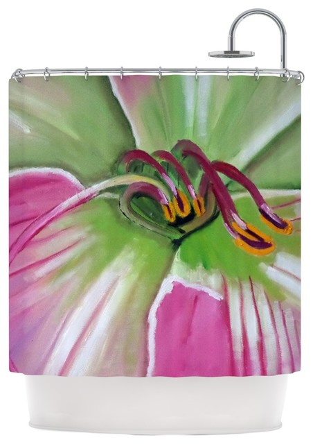 cathy rodgers pink and green flower shower curtain
