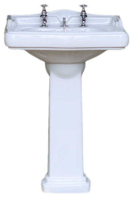 Porcelain English Country Style Square Pedestal Sink, 24
