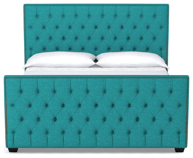 Huntley Tufted Upholstered Bed Ocean Blue Queen Transitional Panel