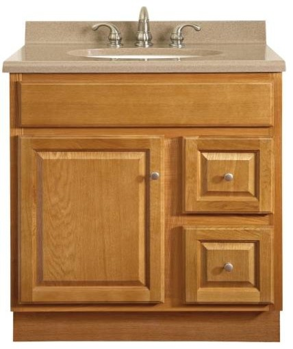 Vanity 1 Door 2 Drawer 30 X21 Oak Contemporary Bathroom Vanit