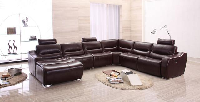 Extra Large Spacious Full Italian Leather Sectional Sofa