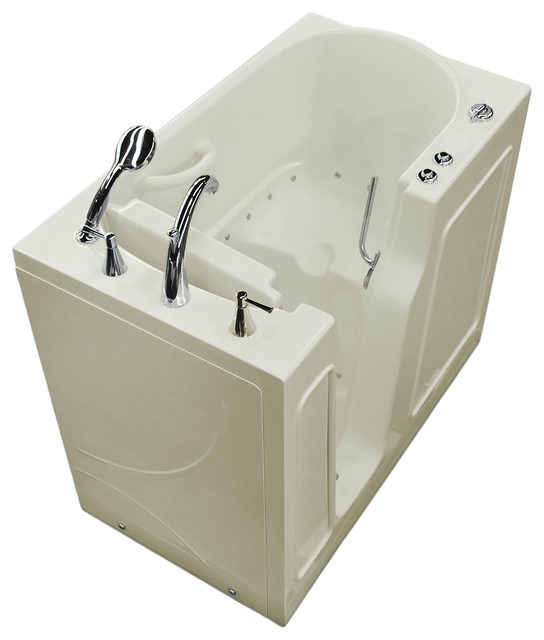 26 X 46 Biscuit Air Jetted Walk-In Bathtub, Left Drain