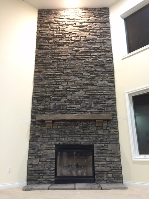 Boral southern ledge stone grey fireplace remodel corner wall for Grey stone fireplace