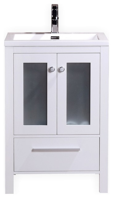 Brezza Bathroom Vanity With Frosted Glass Doors 24 Single Sink White Modern Bathroom